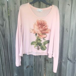 [ Wildfox ] Long Sleeve Rose Top Size Small #70
